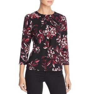 Karl Lagerfeld Bow Floral Top in Cherry Red